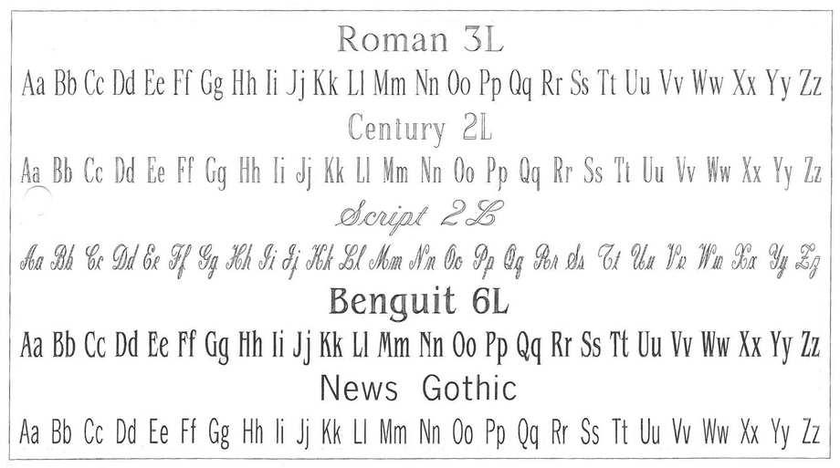 Roman 3L, Century 2L, Benguit 6L, News Gothic